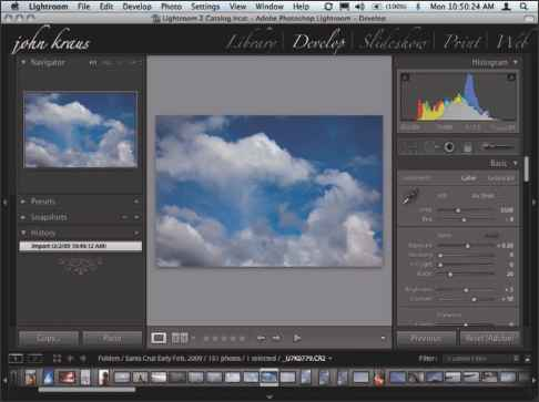 Lightroom Develop Tools Interface