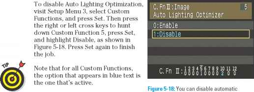 Figure 5-18 You can disable automatic exposure correction via Custom Function 5.  sc 1 st  Canon Camera Experts & Disabling Auto Lighting Optimization - Canon EOS Rebel XS 1000D Guide azcodes.com